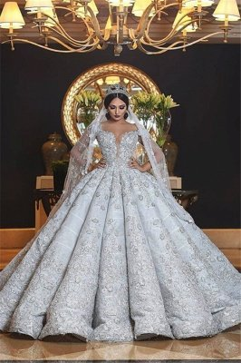 Gorgeous Lace Appliques Wedding Dresses | Luxury Puffy Ruffles Ball Gown Bridal Dresses