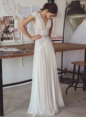 Chiffon Cap Sleeve Crystals Long Glamorous Wedding Dress Cheap_2