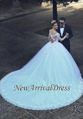 Appliques Tulle Long Sleeves Cheap Online New Arrival Lace Beadings Elegant Ball Gown Wedding Dresses_1