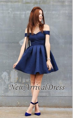 Modest A-line Short Off-the-shoulder Dark-Navy Homecoming Dress_3