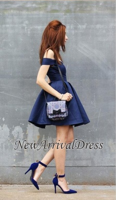 Modest A-line Short Off-the-shoulder Dark-Navy Homecoming Dress_1