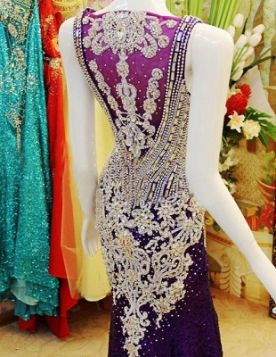 Gorgeous Prom Dresses Straps Crystals Beadings Sheath Sweep Train Sequined Sheer Back Evening Gowns_7