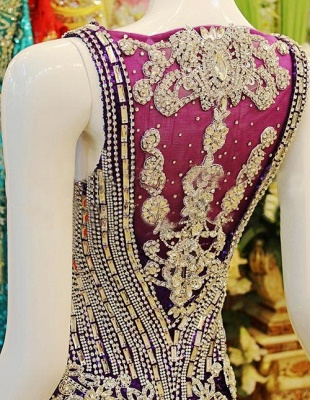 Gorgeous Prom Dresses Straps Crystals Beadings Sheath Sweep Train Sequined Sheer Back Evening Gowns_4