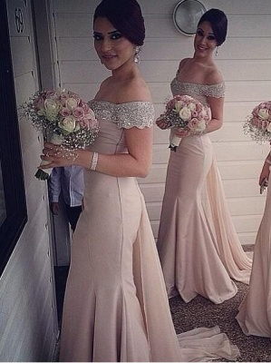 Sexy Off-the-Shoulder Mermaid Bridesmaid Dresses Sweep Train Beaded Party Dresses_3