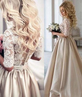 A-Line Half-Sleeves Illusion Lace Puff Custom Made Elegant Wedding Dresses Cheap_4
