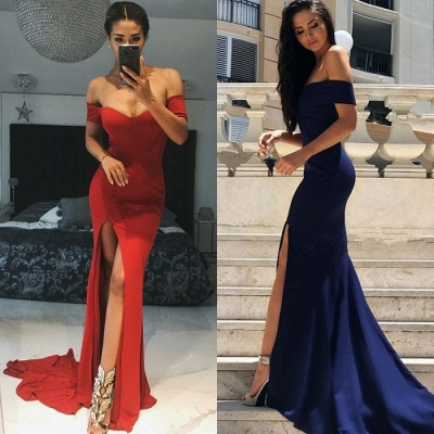 Gorgeous Short-Sleeve 2019 Evening Dress | Mermaid Prom Dress With Slit_4