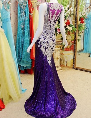 Gorgeous Prom Dresses Straps Crystals Beadings Sheath Sweep Train Sequined Sheer Back Evening Gowns_5