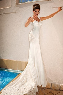 Spaghetti Straps Mermaid Lace Wedding Dresses Open Back Sweep Train Bridal Gowns_2