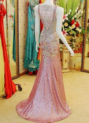 Gorgeous Prom Dresses Straps Crystals Beadings Sheath Sweep Train Sequined Sheer Back Evening Gowns_3
