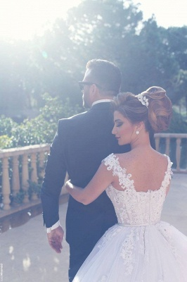 Beading Lace Custom Made Amazing Straps Ball Gown Wedding Dresses Cheap_4