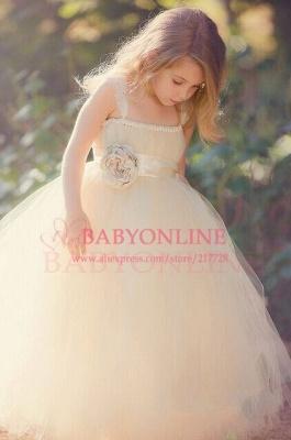 Lace Straps Champagne Tulle Flower Girl's Dresses Bowknot Handmade Girl's Formal Occasion Dresses_1