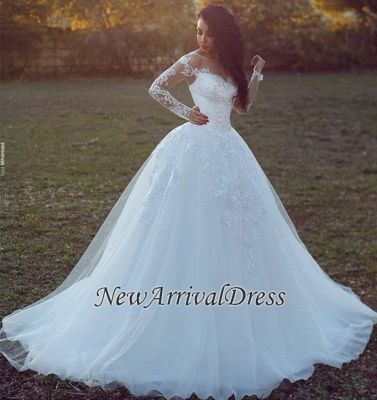 Appliques Glamorous Tulle Long Sleeve Ball Gown Wedding Dresses Cheap Online_1