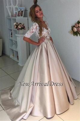A-Line Half-Sleeves Illusion Lace Puff Custom Made Elegant Wedding Dresses Cheap_1