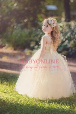 Lace Straps Champagne Tulle Flower Girl's Dresses Bowknot Handmade Girl's Formal Occasion Dresses_2