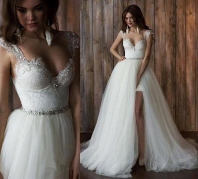 Cap Sleeve Sexy V-neck Crystals Detachable Tulle Overskirt Wedding Dresses Cheap_7