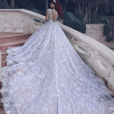 Sheer Tulle Luxury Beading Crystals Bridal Gowns | Cathedral Train Lace Ball Gown Wedding Dresses_5