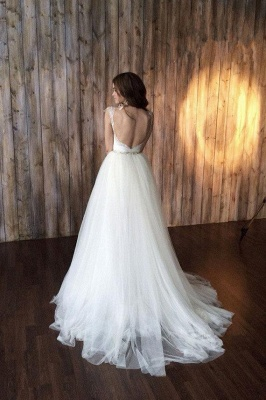 Cap Sleeve Sexy V-neck Crystals Detachable Tulle Overskirt Wedding Dresses Cheap_4