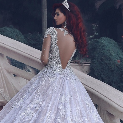 Sheer Tulle Luxury Beading Crystals Bridal Gowns | Cathedral Train Lace Ball Gown Wedding Dresses_4