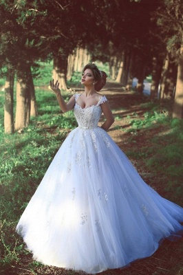 Beading Lace Custom Made Amazing Straps Ball Gown Wedding Dresses Cheap_2