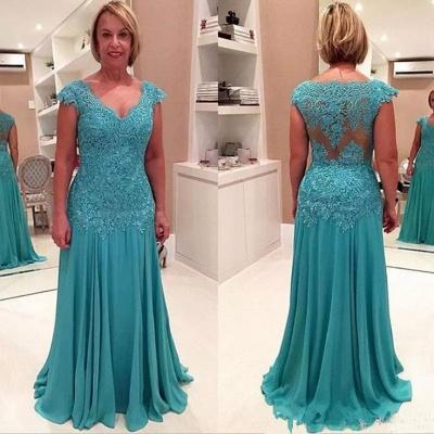 Elegant Lace Appliques Cap Sleeve A-line Chiffon Mother Of Bride Dress_3