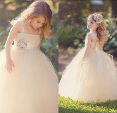 Lace Straps Champagne Tulle Flower Girl's Dresses Bowknot Handmade Girl's Formal Occasion Dresses_3
