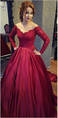 Burgundy A-line V-neck Sleeves Lace Off-shoulder Long  Prom Dresses
