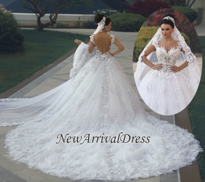 Custom Made Princess Sleeveless Luxurious Lace Wedding Dresses Cheap_1