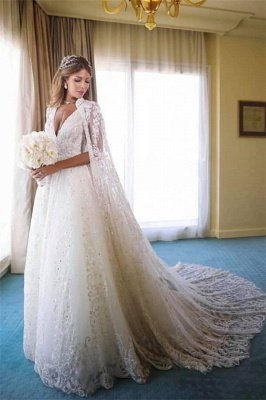 Straps V-neck Beads Appliques A-line Wedding Dresses | Cheap Sleeveless Bridal Gowns with Lace Cape_1
