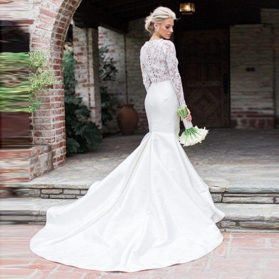 Elegant Lace Appliques Mermaid Cheap Wedding Dresses | Sheer Tulle Long Sleeve Bridal Gowns_2
