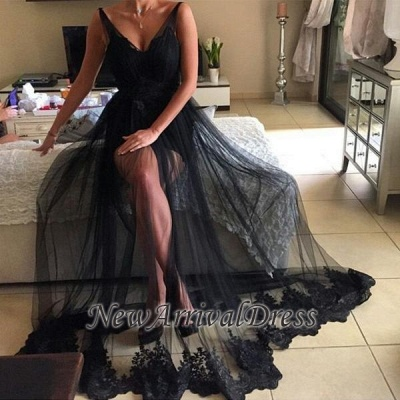 Tulle Long Lace Black Sexy V-Neck Prom Dress | Sheer Prom Dress_1