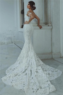 Sexy Cheap Mermaid Wedding Dresses | Court Train Sweetheart Bridal Gowns with Long Train_4