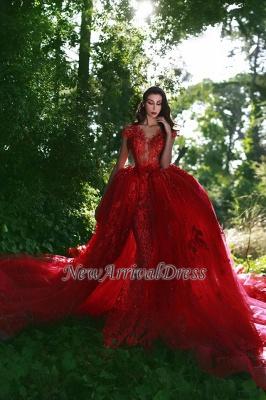 Red Over-Skirt Lace V-Neck Glamorous Applique Prom Dresses BA7655_1