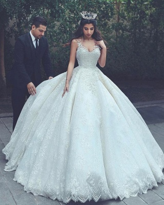 Cheap Online New Arrival Lace Latest V-neck Appliques Sexy Sleeveless Elegant Ball Gown Wedding Dresses_4