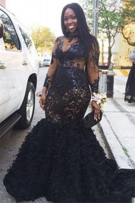 Black Long Sleeve Plus Size Prom Dresses |  Appliques Mermaid Long Formal Dresses SK0171_1