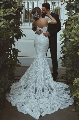 Sexy Cheap Mermaid Wedding Dresses | Court Train Sweetheart Bridal Gowns with Long Train_3