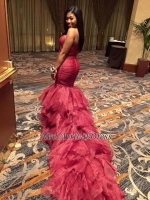 Mermaid Sleeveless Sexy Ruffles Sweetheart Red Prom Dresses_1