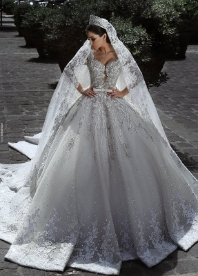 Glamour Manches Longues Tulle Appliques Robes De Mariée 2018 Robes De Bal De Mariage De Cristal avec Arc BA7970_1