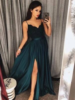 Modern Spaghetti Strap Lace Chiffon Prom Dress   Front Split Prom Dress BA8323_1