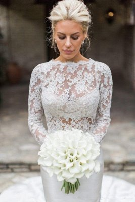 Elegant Lace Appliques Mermaid Cheap Wedding Dresses | Sheer Tulle Long Sleeve Bridal Gowns