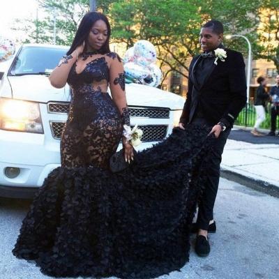 Black Long Sleeve Plus Size Prom Dresses    Appliques Mermaid Long Formal Dresses SK0171_4