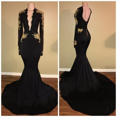 Sexy Black and Gold Prom Dresses | Deep V-Neck Long Sleeves Evening Gowns_3