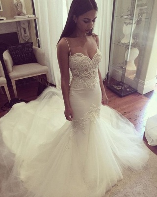Pretty Spaghetti Straps Sweetheart Wedding Dresses Cheap Summer Close-fitting Tulle Bridal Gowns_1