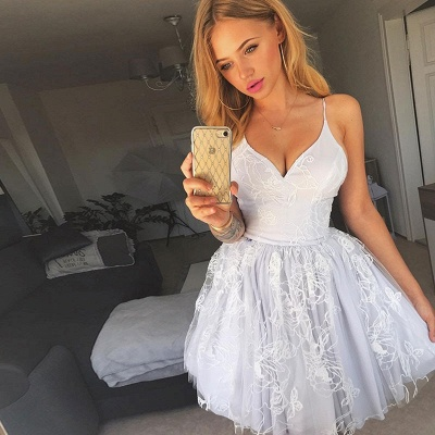 Newest White Lace Spaghetti Strap Homecoming Dress | Short Formal Gown_3