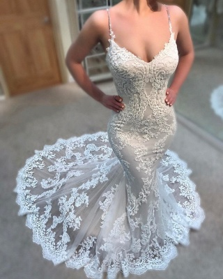 Sexy Lace Appliques Wedding Dresses Online   Spaghettis Straps Cheap Mermaid Bridal Gowns_3