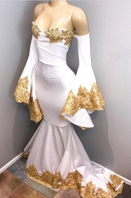Off The Shoulder Long Sleeve Mermaid Gold Lace Prom Dresses Cheap BA8276_2