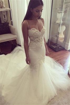 Pretty Spaghetti Straps Sweetheart Wedding Dresses Cheap Summer Close-fitting Tulle Bridal Gowns_2
