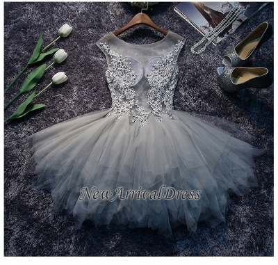 Cute Sleeveless Lace Appliques Illusion Puffy Sexy Short Homecoming Dresses_4