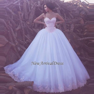 Elegant Lace Appliques Sweetheart Custom Made Tulle Ball Gown Wedding Dress Cheap_1