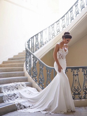 Sexy Spaghetti Strap Cheap Wedding Dresses |  Mermaid Chiffon Lace Bridal Gown Online_1
