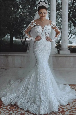 Luxury Beaded Mermaid Wedding Dresses with Sleeves | Illusion Tulle Lace Appliques Bridal Dresses_1